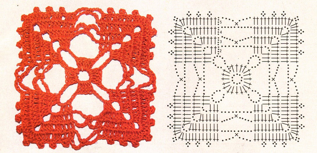 Мотив для вязания крючком 8