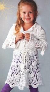 ажурное пальто для девочки крючком
