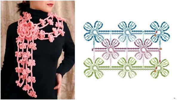 Вязание крючком шарфы цветочные 72
