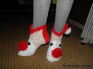 новогодние носочки крючком