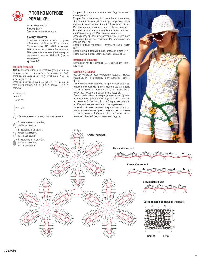Вязание крючком ромашки схема и описание