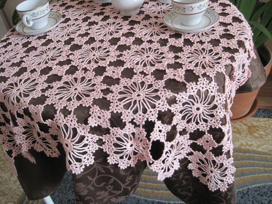 ажурная скатерть схема вязания
