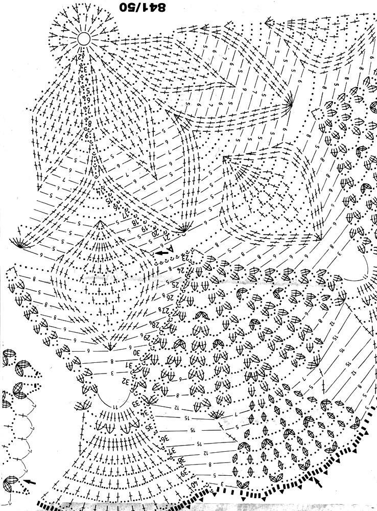 Вязание крючком большие скатерти со схемами 51