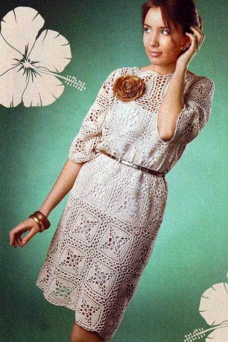 Вязаное льняное платье крючком