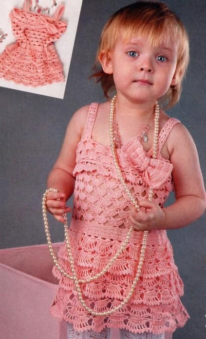 Вязание крючком: сарафан Ажурный детский.