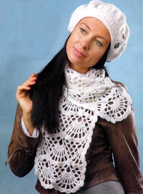 вязаный шарф крючком