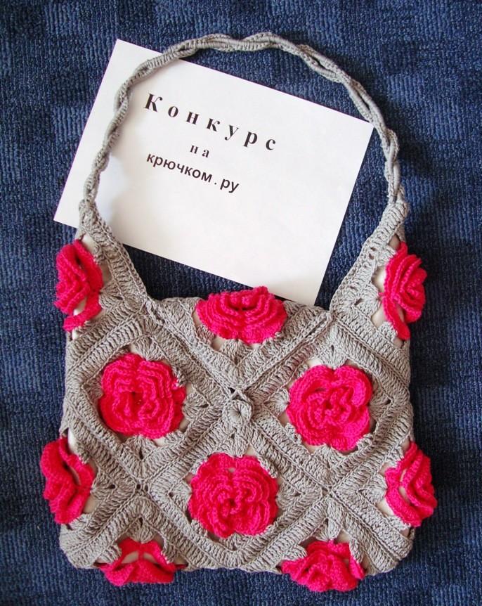 вязаная сумка с розами крчюком