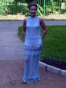 вязаное платье длинное