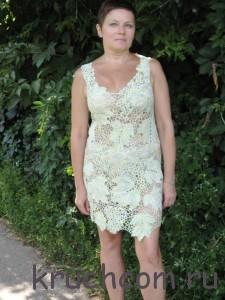 вязаное платье с узором виноград