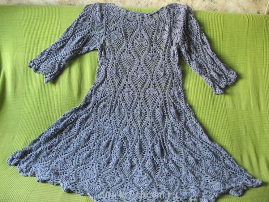 вязаное платье с узором ананас