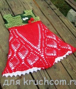 платье для девочки крючком клубничка