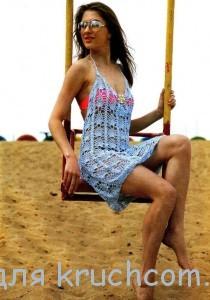 вязаное пляжное платье