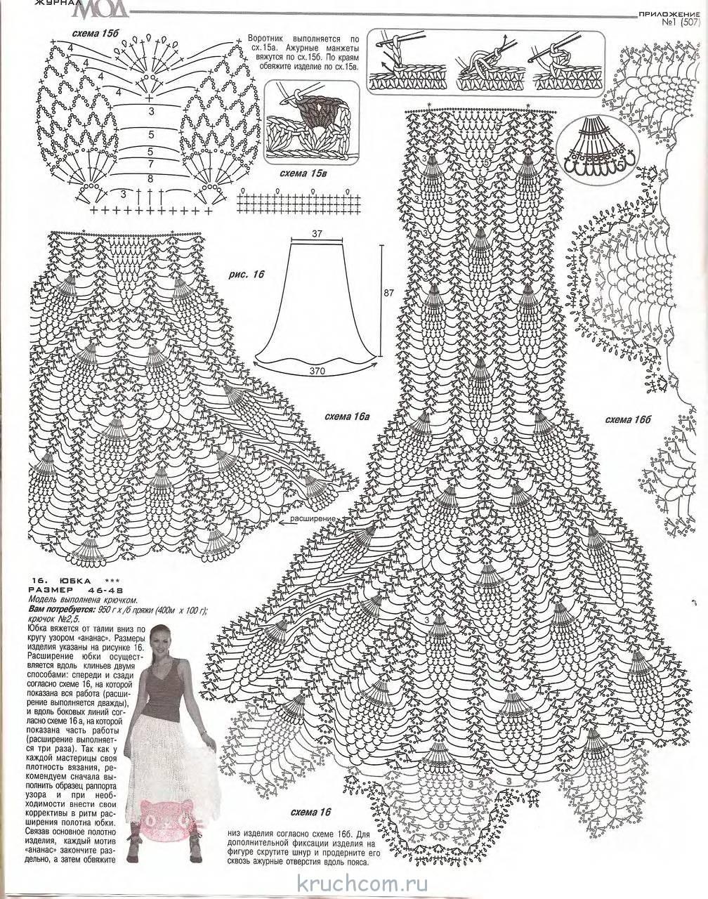 Вязание крючком юбки с ананасами