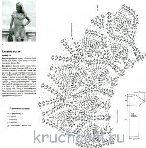 описание вязаного платья крючком