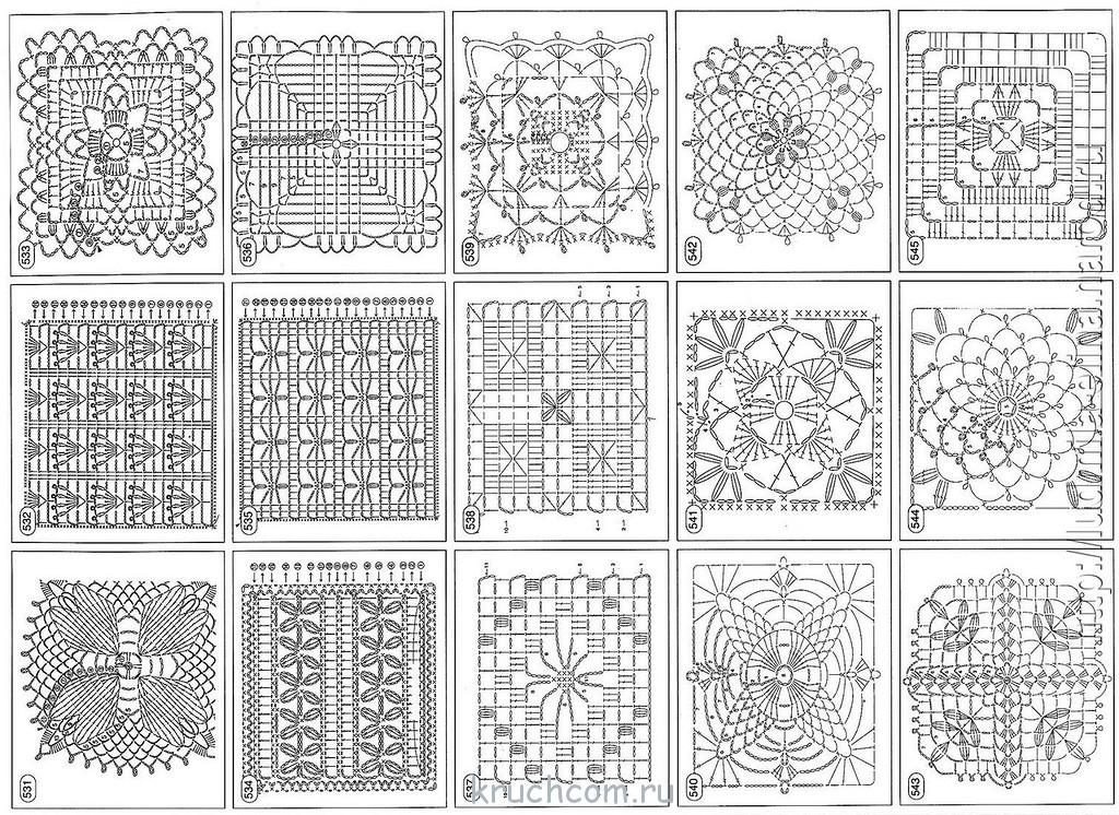 Схемы для вязания крючком квадратный мотив 807