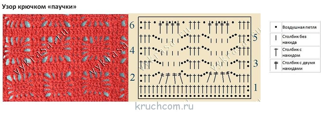 Схемы вязания спицами.узор паучки