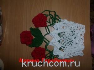 салфетка крючком с цветами