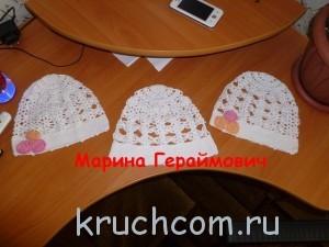 вязаные шапочки для девочек крючком