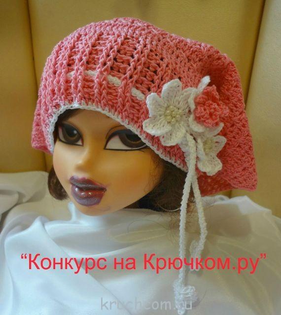 шапка-косынка крючком