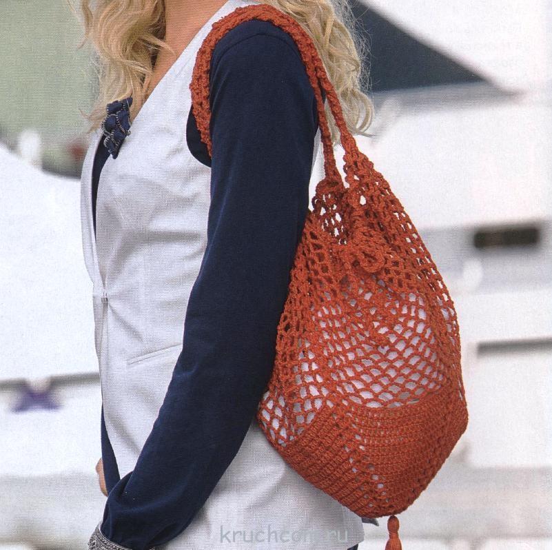 вязаная сумка-сетка крючком