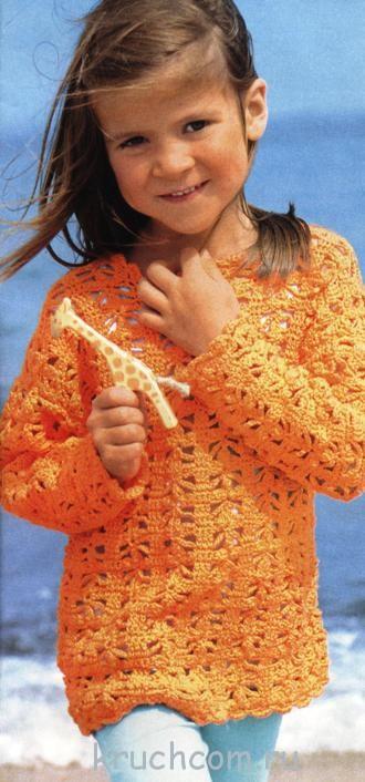 Вязаный пуловер крючком для