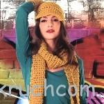 Кепка, шарф и митенки
