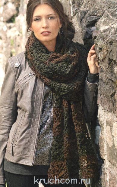 Широкий двухцветный шарф