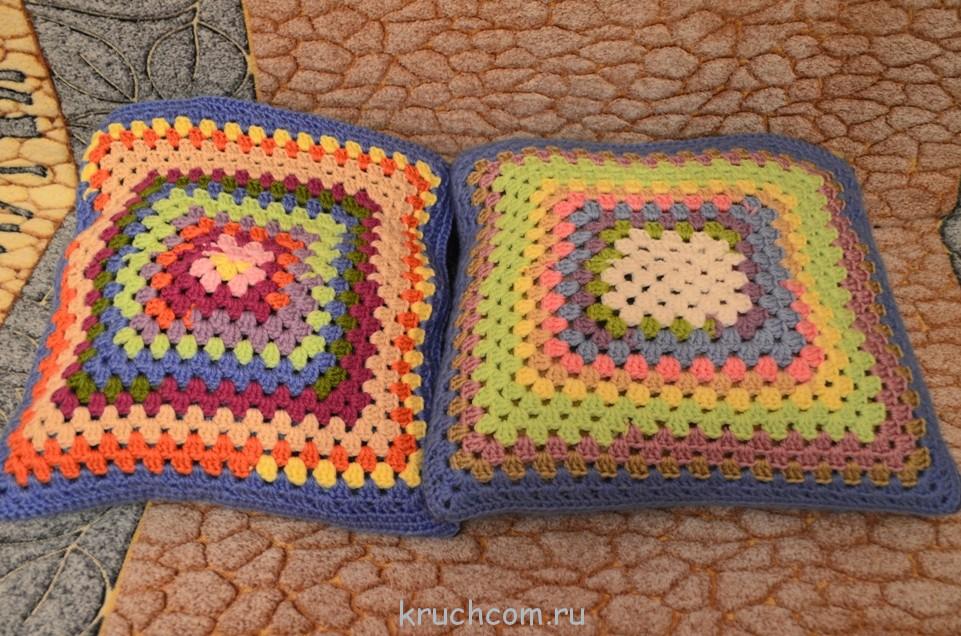 вязаный чехол на подушки