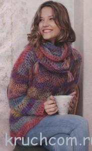 вязаный пуловер из мохера крюком