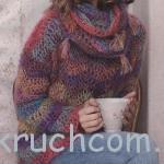 Вязаный пуловер и шарф из мохера