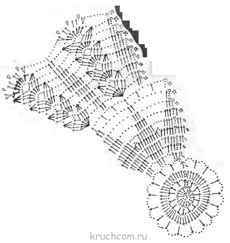 Схема вязания крючком колос 90