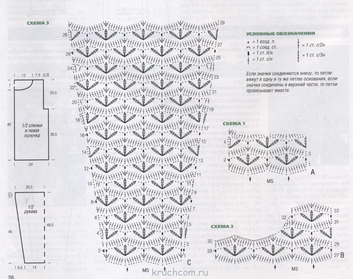 Узоры для вязания рукавов крючком 105