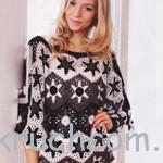 Ажурный пуловер из шестиугольников