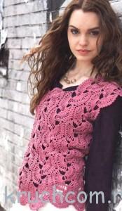 вязаный пуловер из вееров