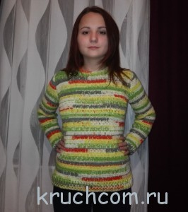 свитер, вязанный крючком