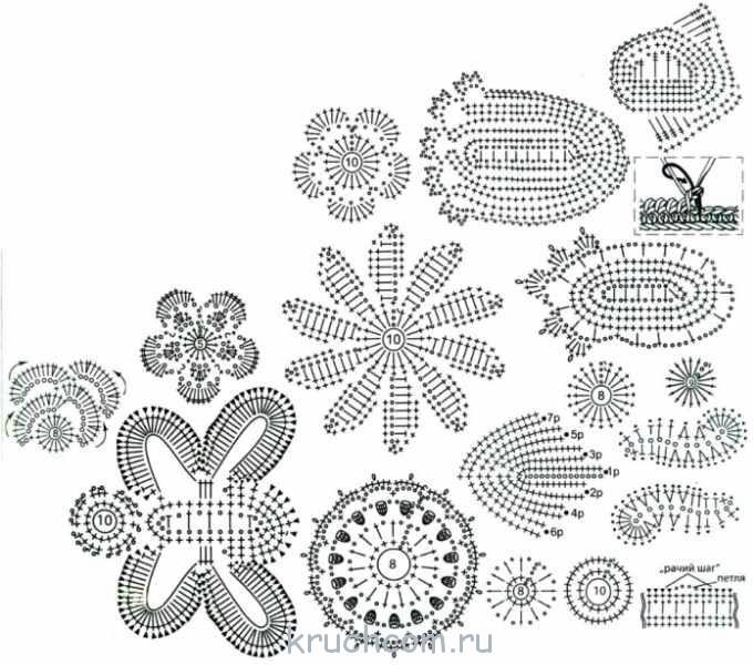 Вязание крючком цветочные мотивы для ирландского кружева