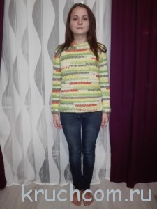 свитер полосатый крючком