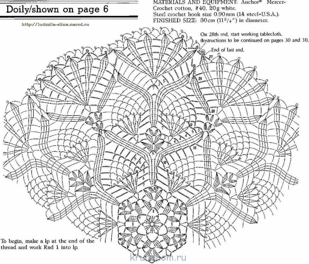 Вязание скатерти крючком с и схемами
