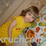 Вязаное платье для девочки на лето