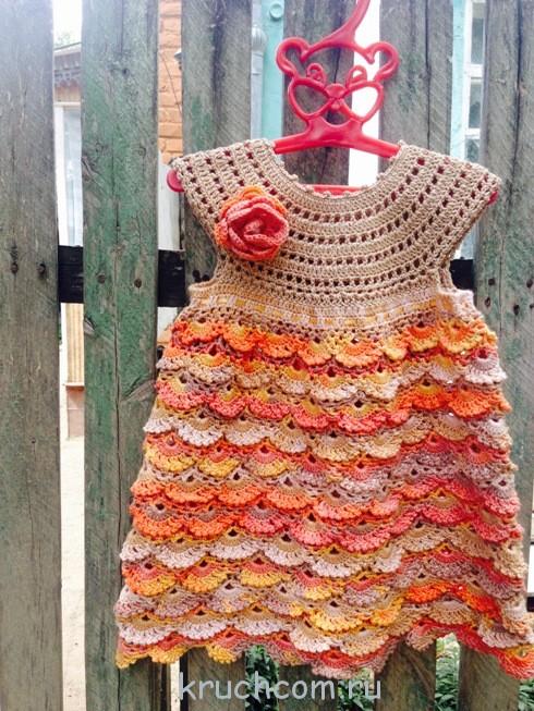 Осеннее платье вязанное крючком 79