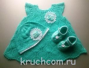 Вязаные пинетки платья