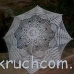 Вязаный белоснежный зонт крючком