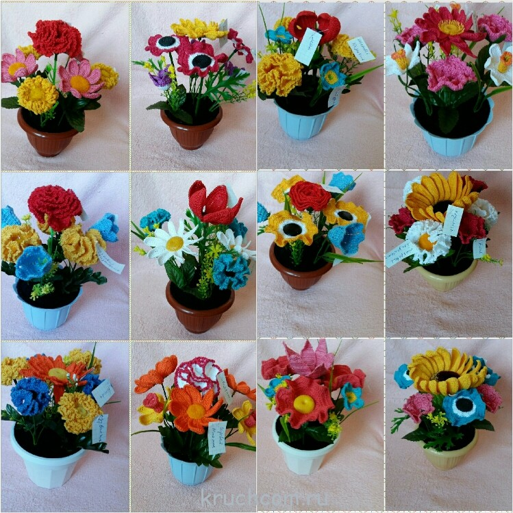 Вязание цветов или букетов крючком 37