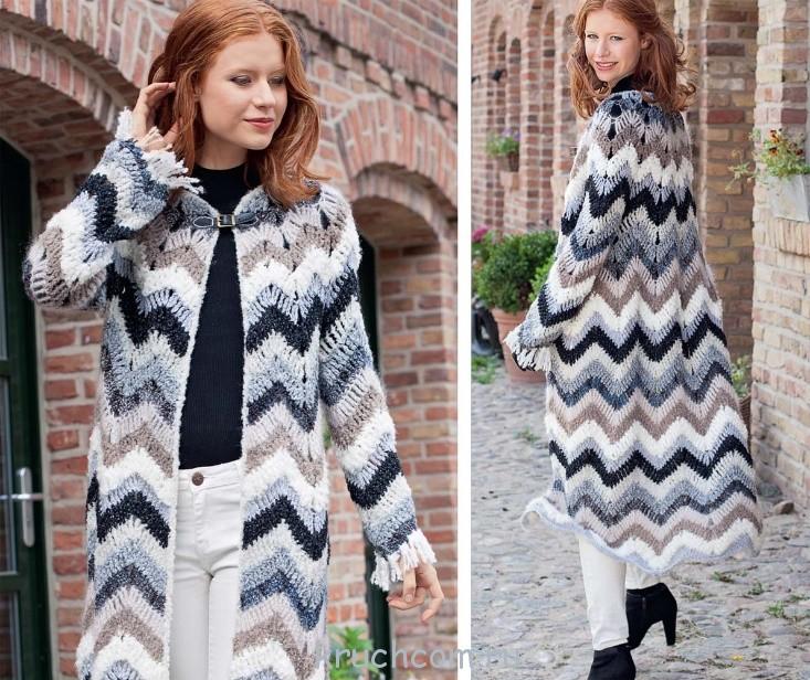 Вязание зигзагом пальто