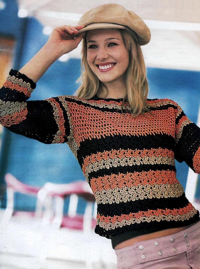 начала свитер вязаный крючком фото и схема подсказками