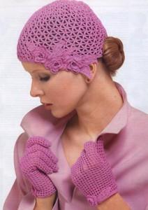 вязаная шапка и перчатки крючком