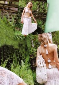 вязаное бюстье, юбка, сумка