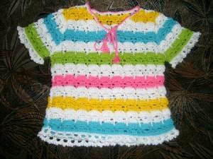летняя рубашка крючком для девочки