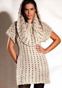 вязаное зимнее платье крючком