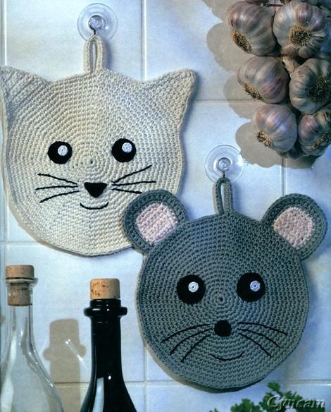 вязаные прихватки кошки мышки вязание крючком бесплатная схема